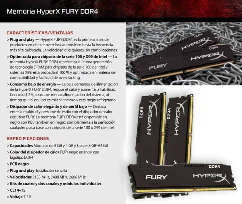 MEMORIA RAM HYPERX DDR4 8GB 2400MHZ F