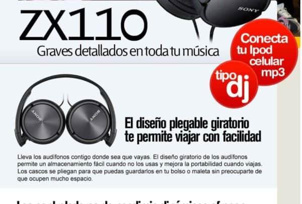 AUDIFONOS SONY ESTEREO MDR ZX110 E