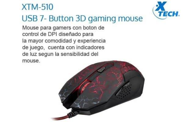 MOUSE GAMER XTECH XTM510 NEGRO LED D