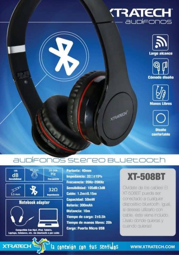 Audifonos Bluetooth Xtratech XT-508BT B