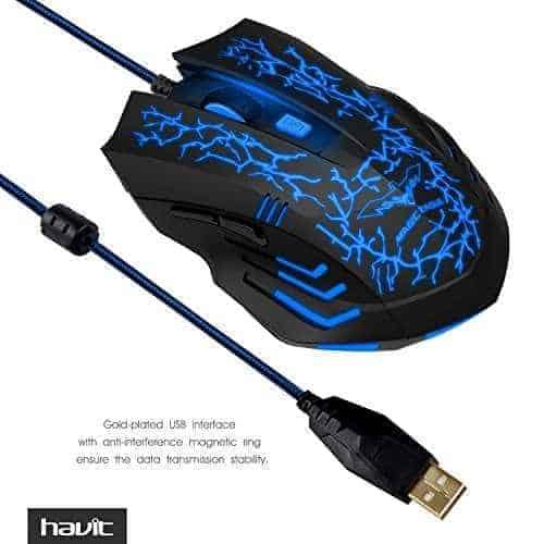 MOUSE GAMER HAVIT HV-MS672 LED 2400DPI + MOUSE PAD D