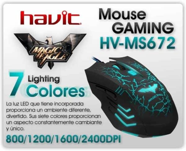 MOUSE GAMER HAVIT HV-MS672 LED 2400DPI + MOUSE PAD C