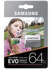 MEMORIA SAMSUNG EVO MICRO SDXC 64GB UHS 1 CLASS 10 U3 A