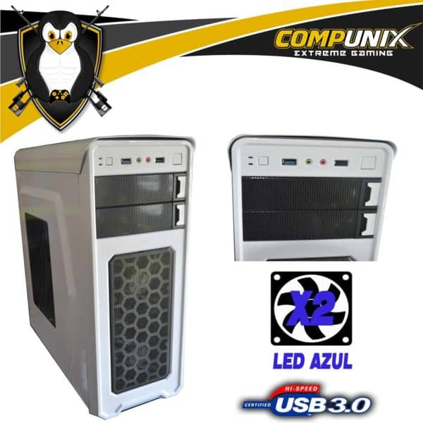 CASE GAMER ITTEK X3009 BLANCO 2 COOLERS LED