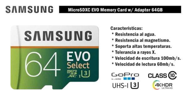 MEMORIA SAMSUNG EVO MICRO SDXC 64GB UHS 1 CLASS 10 U3 C