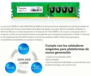 MEMORIA RAM ADATA DDR4 4GB 2400MHZ D