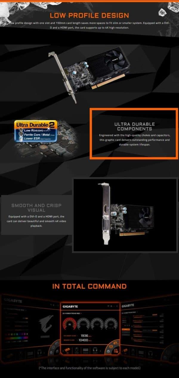 VIDEO GIGABYTE LOW PROFILE GT1030 2GB E