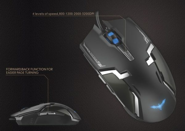 MOUSE GAMER HAVIT HV-MS749 6 TECLAS LED 3200DPI F