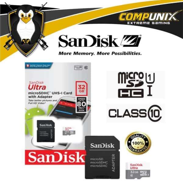 MEMORIA MICRO SD HC SANDISK ULTRA 32GB C10 80MBs