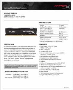MEMORIA RAM HYPERX DDR4 16GB 2400MHZ F