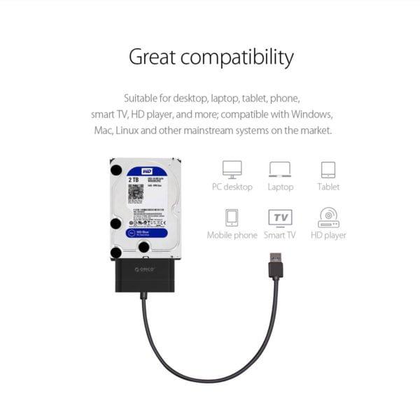 ADAPTADOR HDD SSD 2.5 ORICO SATA A USB 3.0 F
