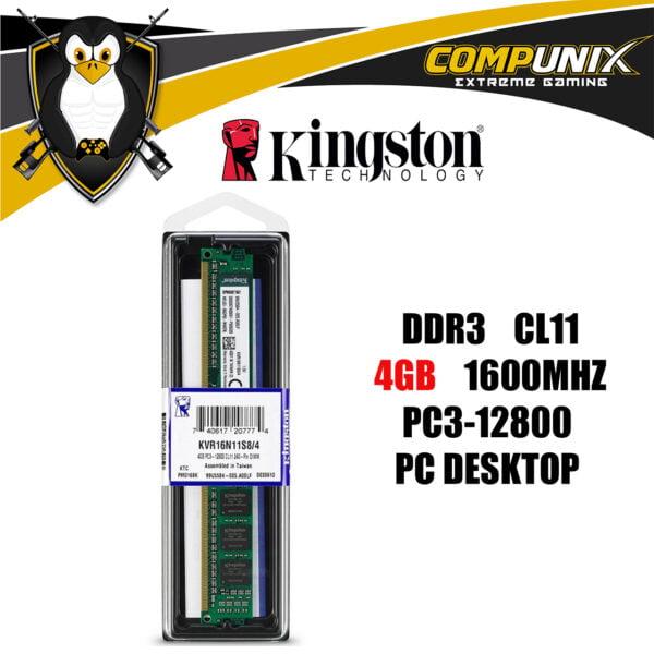 MEMORIA RAM KINGSTON DDR3 4GB 1600MHZ PC DESKTOP